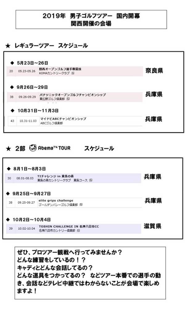 国内男子ツアー開幕! 5月以降、関西開催予定