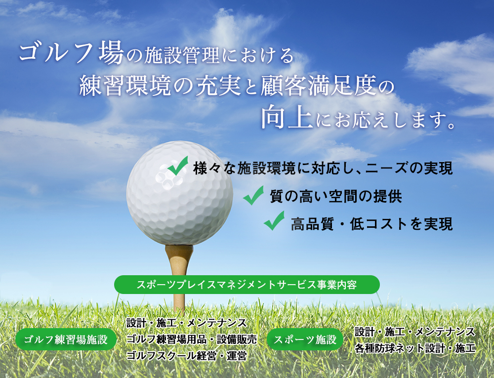 Low angle, close up view of a golf ball on a tee with grass and blue sky